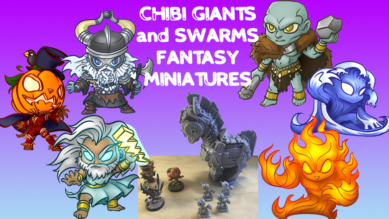 Developing a range of 50mm large chibi monsters along with small swarm chibi to pummel or overrun unwary adventurers