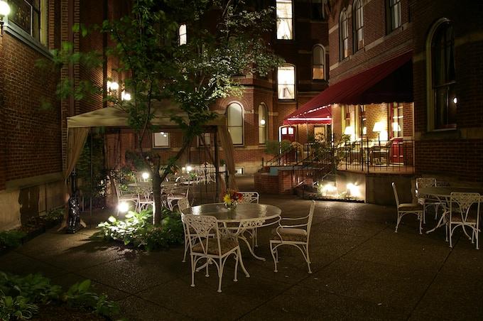 Priory Hotel Courtyard at Night