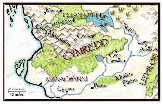 Map of the Cymredd region in the West