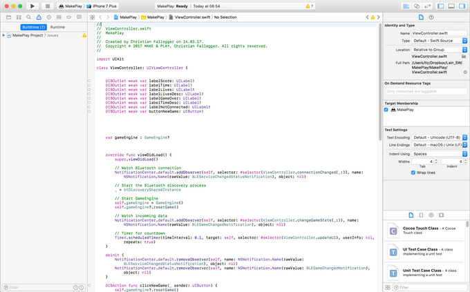 Part of the coding in Xcode