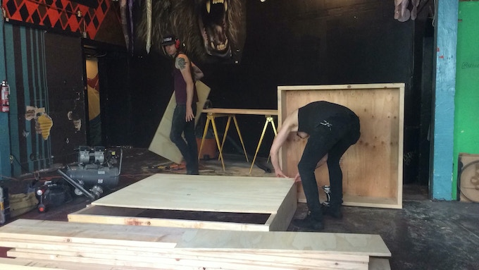 David and Salo starting construction on the ramp being used to hold the costume