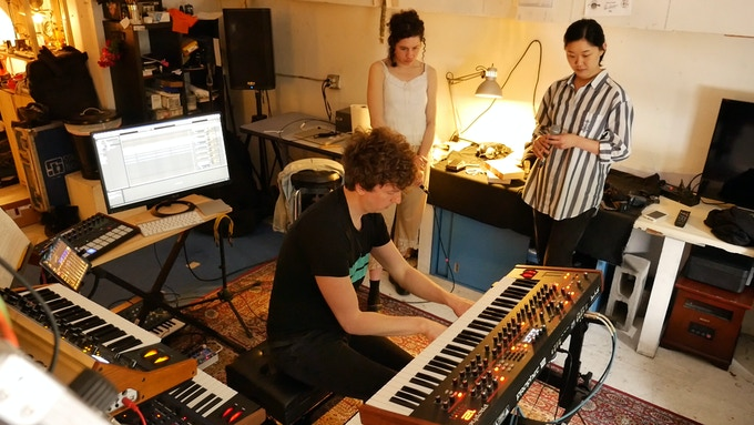 Salo, Rachel, and Sharon in singing rehearsals