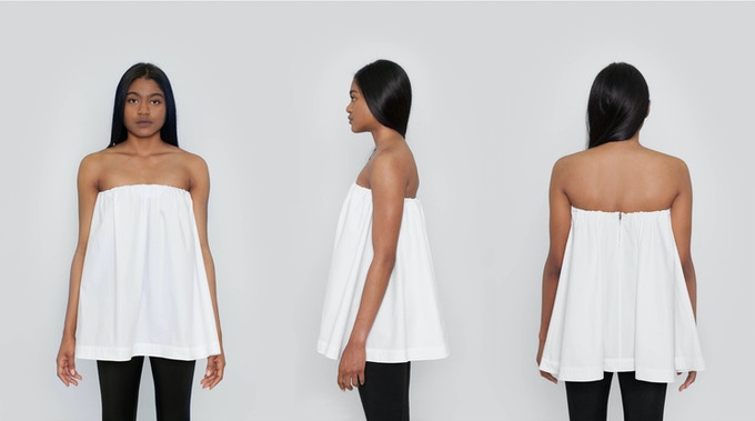 Elizabeth Flare Tube Top: A-line tube top with front and back ruching and a back zip closure. A flare shape for an ultra feminine look. $104 Kickstarter Price