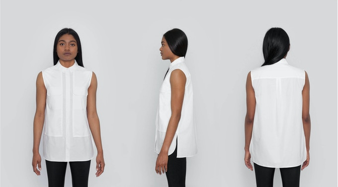 Jane Sleeveless Utility Shirt: A sleeveless button-down shirt with refined utilitarian details. Large, structural pockets and side slits with a curved front hem. $111 Kickstarter Price