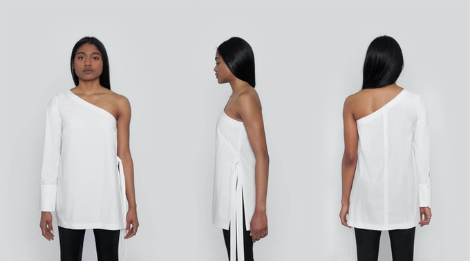 Monroe Asymmetrical Sleeve Shirt: A chic, one shoulder style featuring a high side slit with adjustable ties and raw edges. $139 Kickstarter Price
