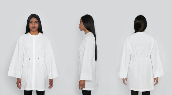 Atlantic Drawstring Tunic: A fashion forward and modern take on a sporty look. Funnel sleeves, adjustable cinching at the waist, and a raw edged neckline. $174 Kickstarter Price