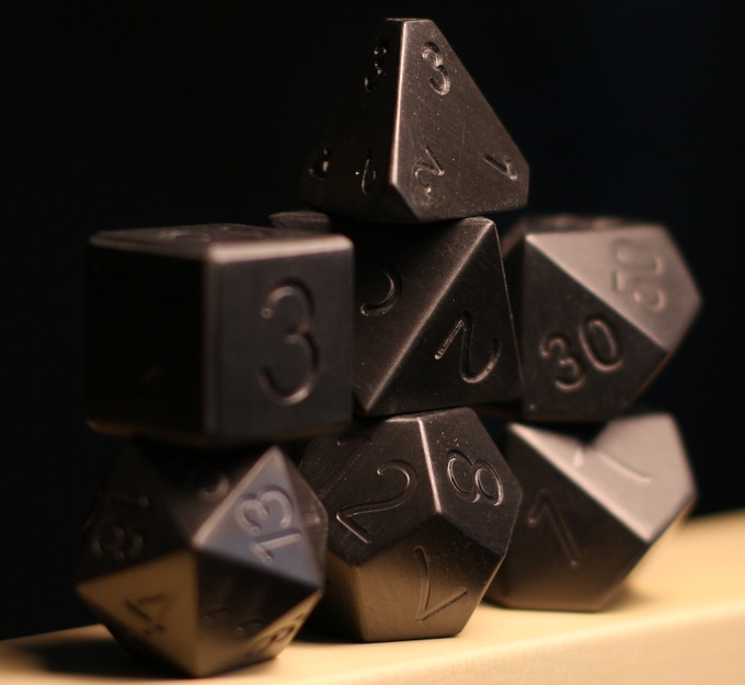 Sinister Forge Blackened Zirconium - The Most Bad-Ass dice ever created.