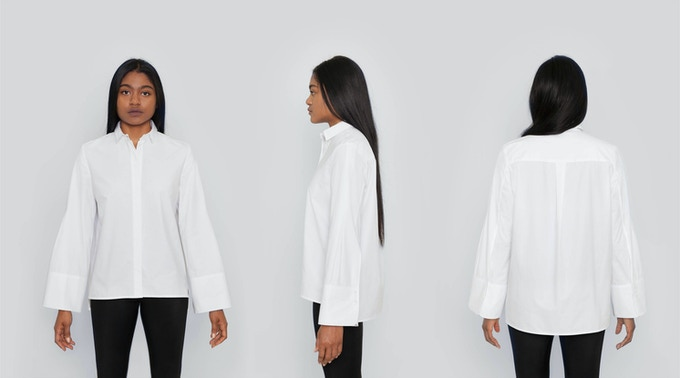 Lenox Boyfriend Shirt: An oversized, boyfriend fit. The fit and slightly pleated sleeves are exaggerated for a cool, effortless look. $132 Kickstarter Price
