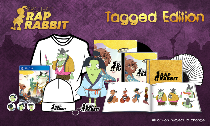 Includes: signed copy of Project Rap Rabbit, artbook, soundtrack CD, remixed soundtrack CD, keyring, badge set, backer-only t-shirt, Project Rap Rabbit folding fan, Otama-Maru plushie, gatefold vinyl soundtrack