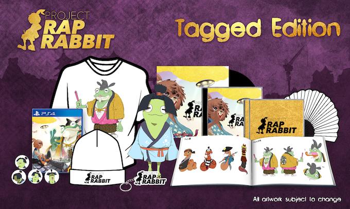 Includes: signed copy of Project Rap Rabbit, artbook, soundtrack CD, remixed soundtrack CD, keyring, badge set, backer-only t-shirt, Project Rap Rabbit folding fan, Otama-Maru plushie, gatefold vinyl soundtrack