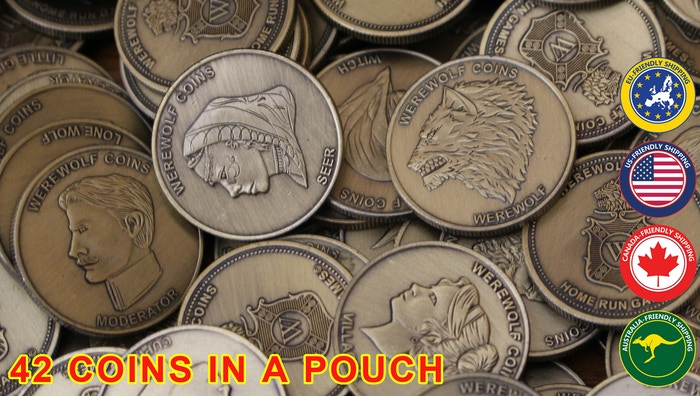 42 Character coins in a suede pouch for the best portable Werewolf game yet.