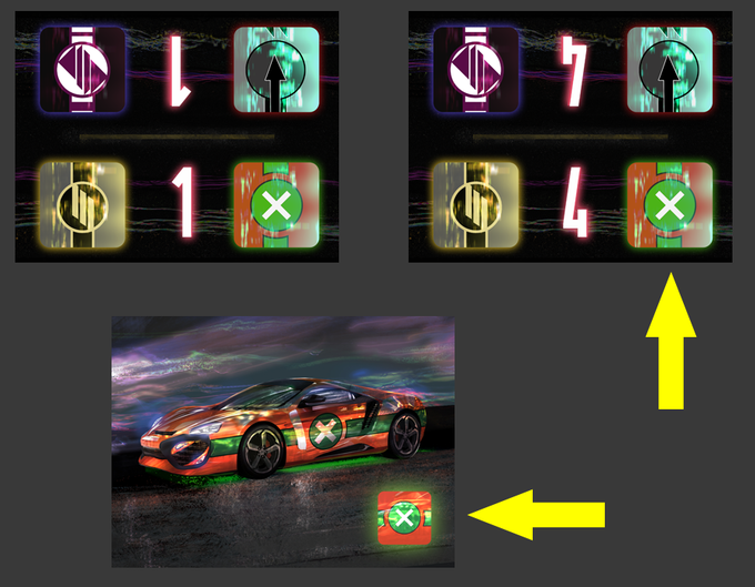Player's car decal on the Car and on the Track