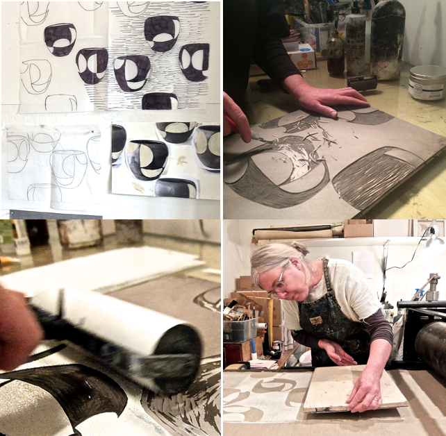 Creating an original image, carving the block, inking and printing onto Belgian linen
