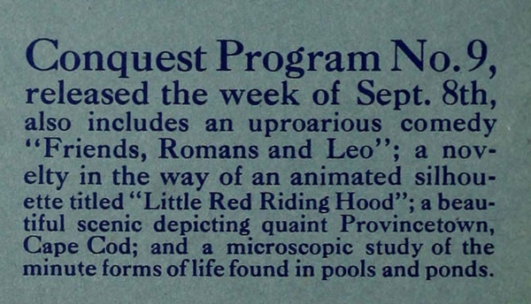 """Original ad detailing the Conquest Program that accompanied """"Kidnapped"""" in 1917"""