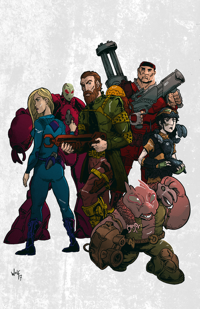 Concept art of Resistance fighters by Brian Wolf. Colors by Lee Milewski.