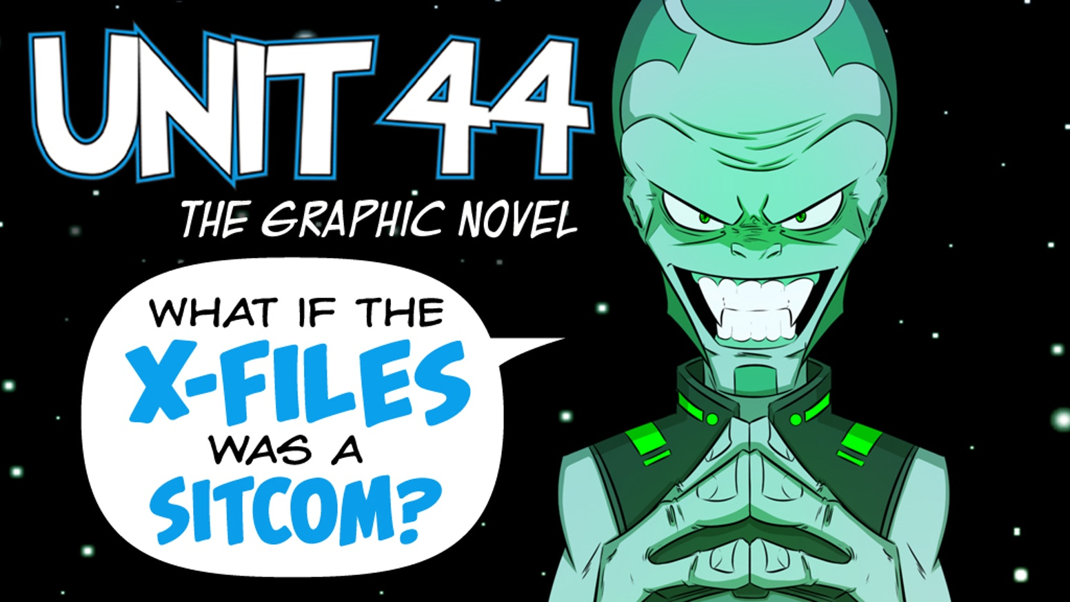 Inept Area 51 employees forget to pay the rent on the facility's off-site storage unit and the secret contents are sold at auction. The Unit 44 graphic novel is published by Alterna Comics.