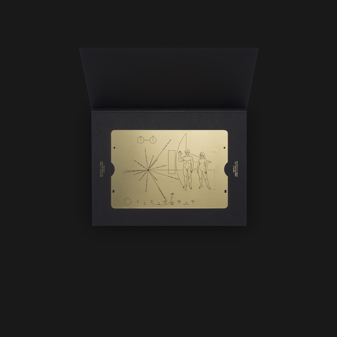 The Pioneer plaque is gold-anodized optimism