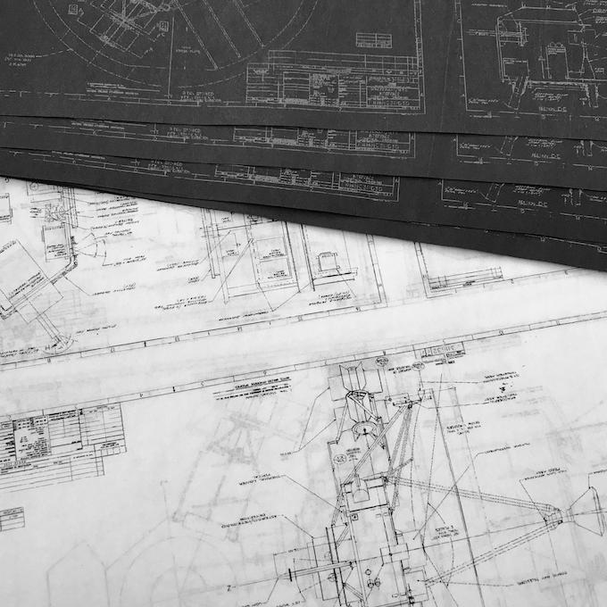 Tissue paper form restored blueprints