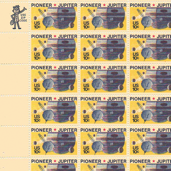 The replicas will include cancelled Pioneer Jupiter stamps within each package