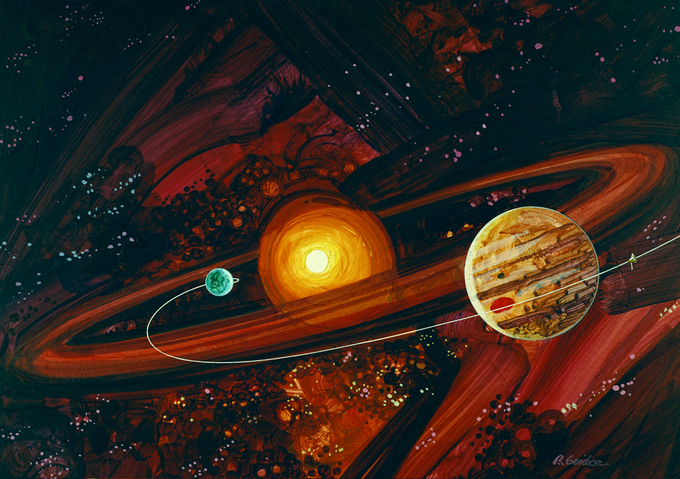 Pioneer 10 crossing the asteroid belt, Illustration by Rick Guidice