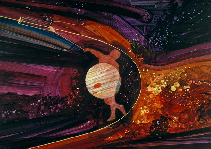 Jupiter's gravity was used to slingshot Pioneer 10 to the outer planets, Illustration by Rick Guidice