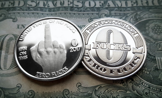 Zero Fucks Coin - Front & Back