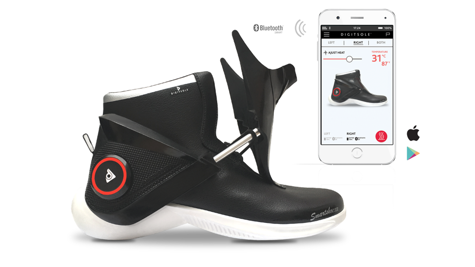 The first auto-tightening, interactive, heating, & shock absorbing sneaker.