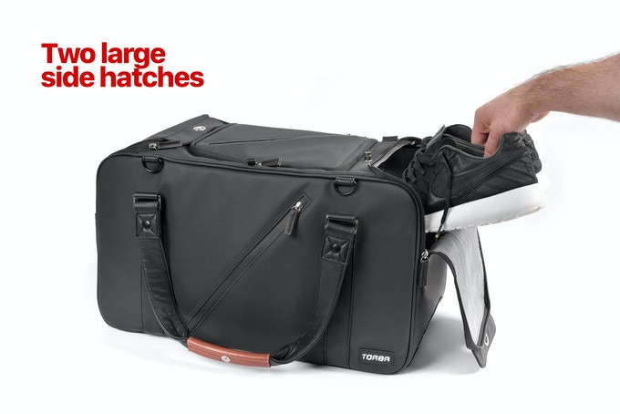 Large side openings on either rear side of the bag can be opened fully to store and retrieve items from the side compartments.