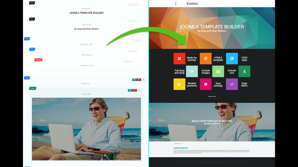 Kiolezo drag and drop joomla template builder by for Joomla template builder software