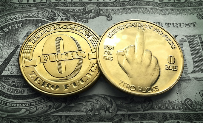 FREE Golden Zero Fucks Coin - Front & Back