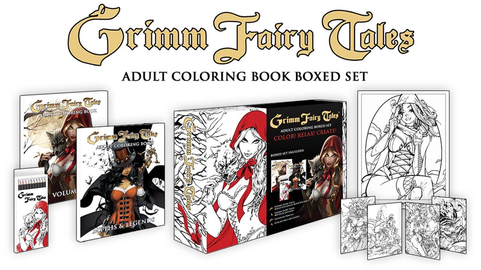 Grimm Fairy Tales Coloring Book Boxed Set