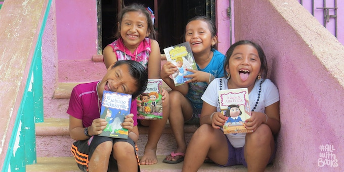 Children of Katab with the first books we brought