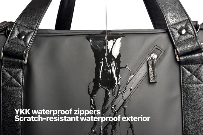 Superior scratchproof and waterproof PU is used to ensure a long-lasting life to the bag and protect your belongings. Waterproof zippers are used for all outer closures.