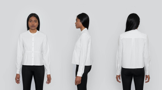 Albany Cropped Smocked Shirt: A cropped long sleeved silhouette with front smocking. Comes in a mandarin collar and self-covered buttons for subtle, but special details. $132 Kickstarter Price