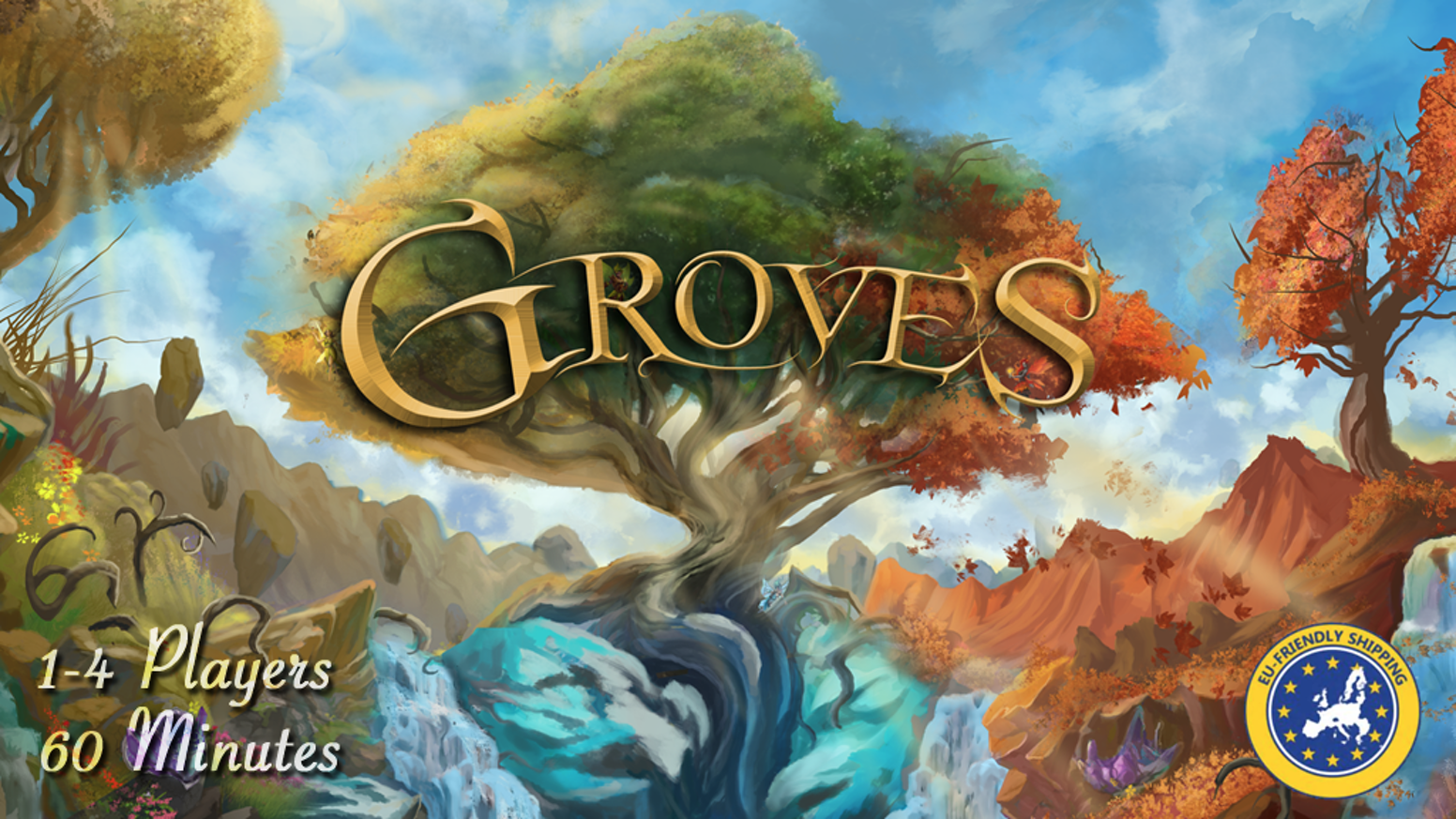 Build beautiful groves, manage your elemental spirits and earn the most dominion in this board game for 1-4 players, ~60 minutes.