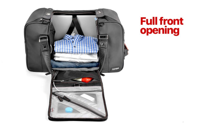 Full visibility and access to grab your laptop, clothes, and anything else.