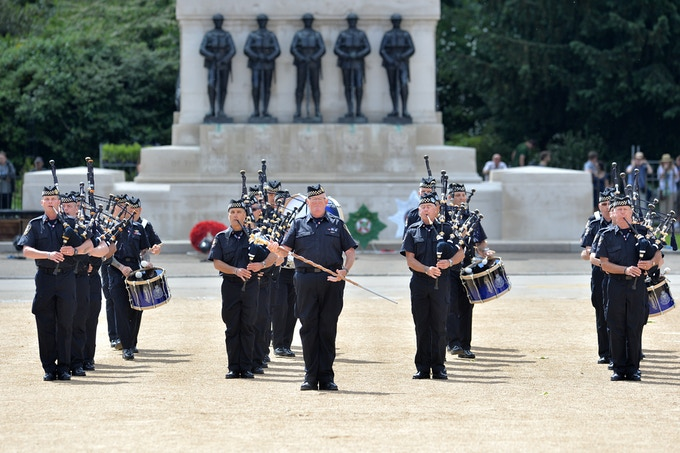 Enter the Vancouver Police Pipe Band