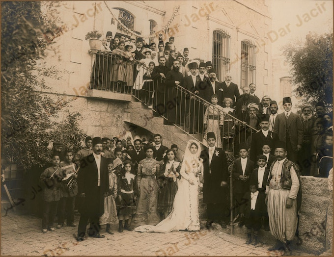 Pledge $25 - Emily will mail you a postcard from Bethlehem of this 1911 Jacir wedding at our house!