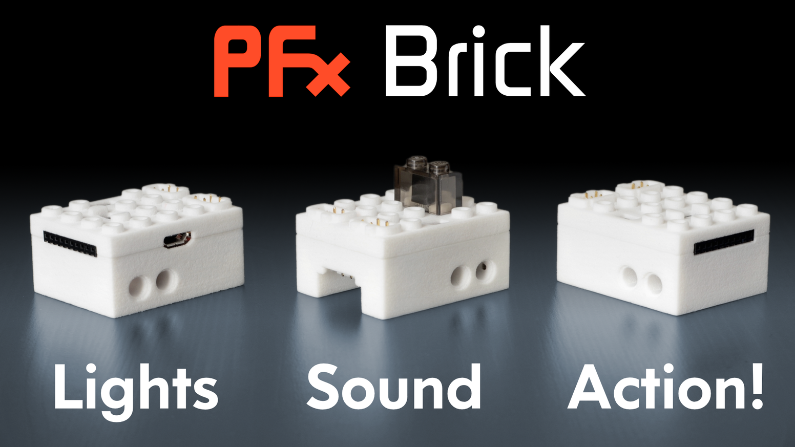 The PFx Brick is a device which transforms LEGO® creations with awesome new possibilities for lighting and, for the first time, sound!