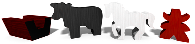New Cow, Horse, and Water Trough meeples come with the Ranch Expansion! (designs subject to change)