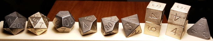 STEAM features mostly cast iron with enough bronze thrown in to make it interesting. Extra D20 and D6's included for your added enjoyment. Pledge at level: [Alloy]  STEAM