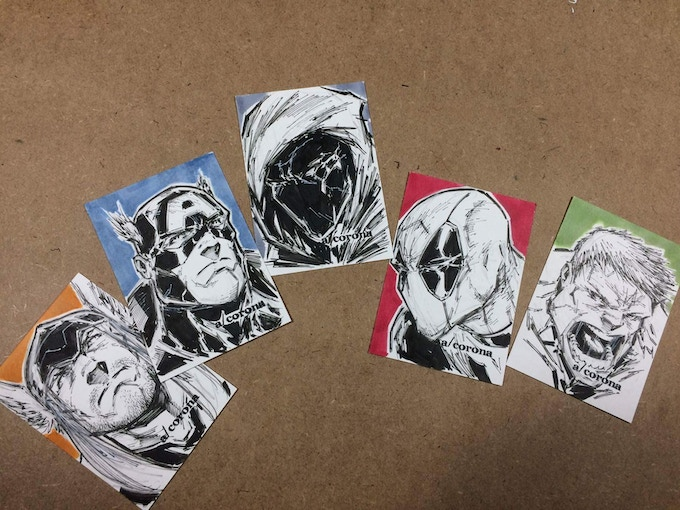Adelso Corona sketch cards