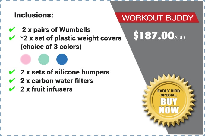 """PLEASE NOTE: THE """"WORKOUT BUDDY"""" PACK CONSISTS OF *PLASTIC WEIGHT COVERS (NOT REAL WEIGHTS).THE SILICONE BUMPERS GLOW IN THE DARK."""