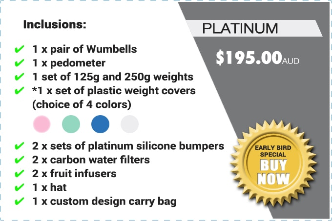 """PLEASE NOTE: THE """"PLATINUM"""" PACK CONSISTS OF 1 x SET OF 125g AND 250g WEIGHTS (REAL WEIGHTS) AND *1 x SET OF PLASTIC WEIGHT COVERS (NOT REAL WEIGHTS). THE SILICONE BUMPERS GLOW IN THE DARK."""
