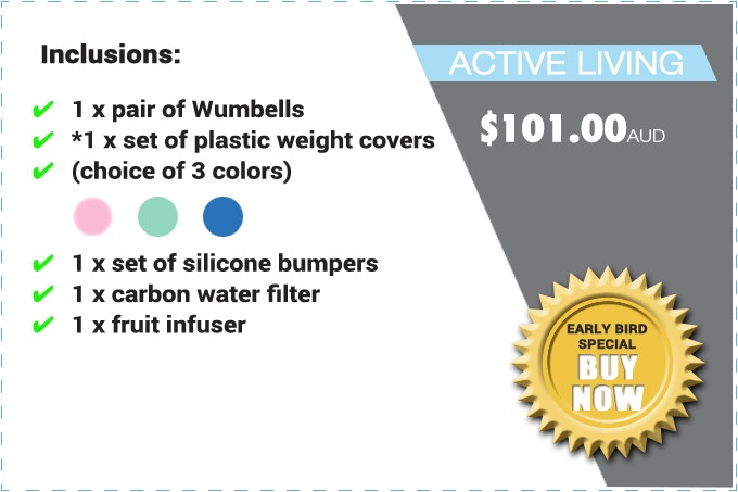 """PLEASE NOTE: THE """"ACTIVE LIVING"""" PACK CONSISTS OF *PLASTIC WEIGHT COVERS (NOT REAL WEIGHTS). THE SILICONE BUMPERS"""
