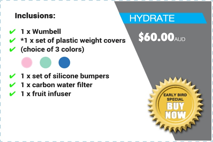 """PLEASE NOTE: THE """"HYDRATE"""" PACK CONSISTS OF 1 x WUMBELL (NOT A PAIR) *PLASTIC WEIGHT COVERS (NOT REAL WEIGHTS). THE SILICONE BUMPERS GLOW IN THE DARK."""