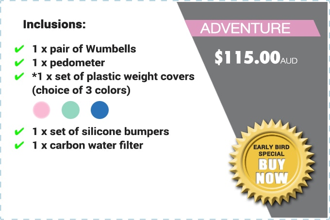 """PLEASE NOTE: THE """"ADVENTURE"""" PACK CONSISTS OF *PLASTIC WEIGHT COVERS (NOT REAL WEIGHTS). THE SILICONE BUMPERS GLOW IN THE DARK."""