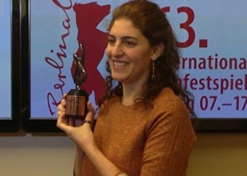 Annemarie receiving the Best Asian Film Award at the 63rd Berlin International Film Festival, NETPAC award