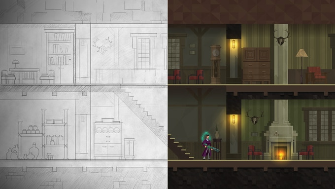 Location sketch VS in-game footage.