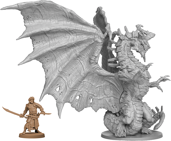 Scale comparison between the Feral Dragon and Asim, the Survivor.